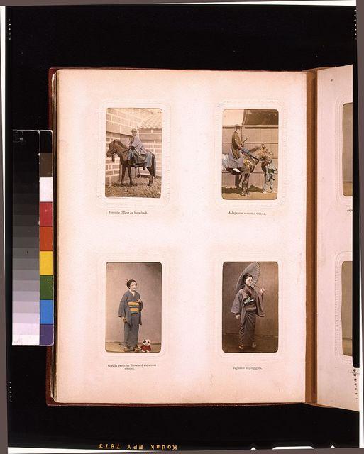 [Outdoor portraits of a Japanese officers on horseback and studio portraits of young women, one with a spaniel and the other holding a parasol]