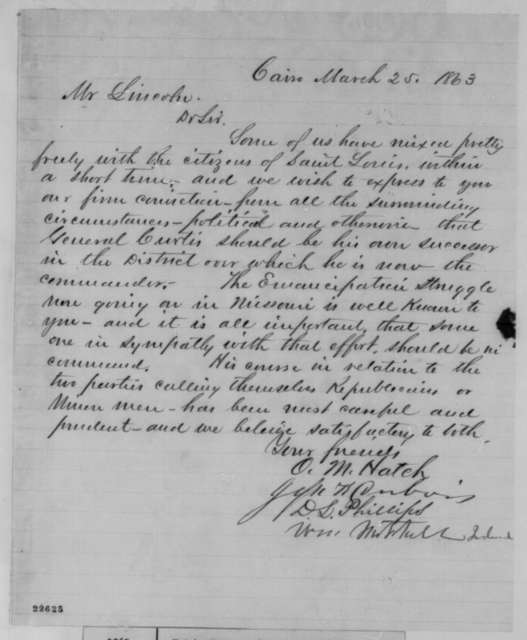 Ozias M. Hatch, et al. to Abraham Lincoln, Wednesday, March 25, 1863  (Write in favor of General Curtis)