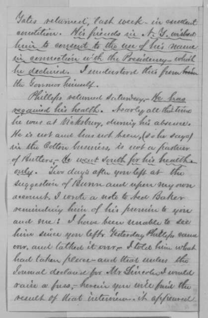 Ozias M. Hatch to Jesse K. Dubois, Wednesday, December 30, 1863  (Political affairs)
