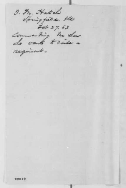 Ozias M. Hatch to John G. Nicolay, Friday, February 27, 1863  (Recommends E.M. Low)