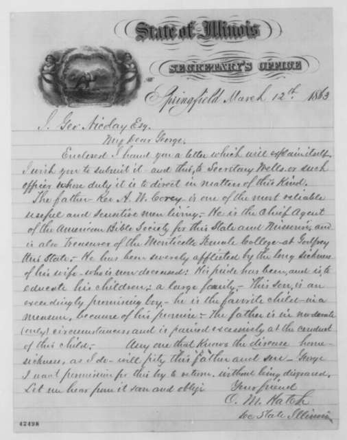 Ozias M. Hatch to John G. Nicolay, Thursday, March 12, 1863  (Cover letter)