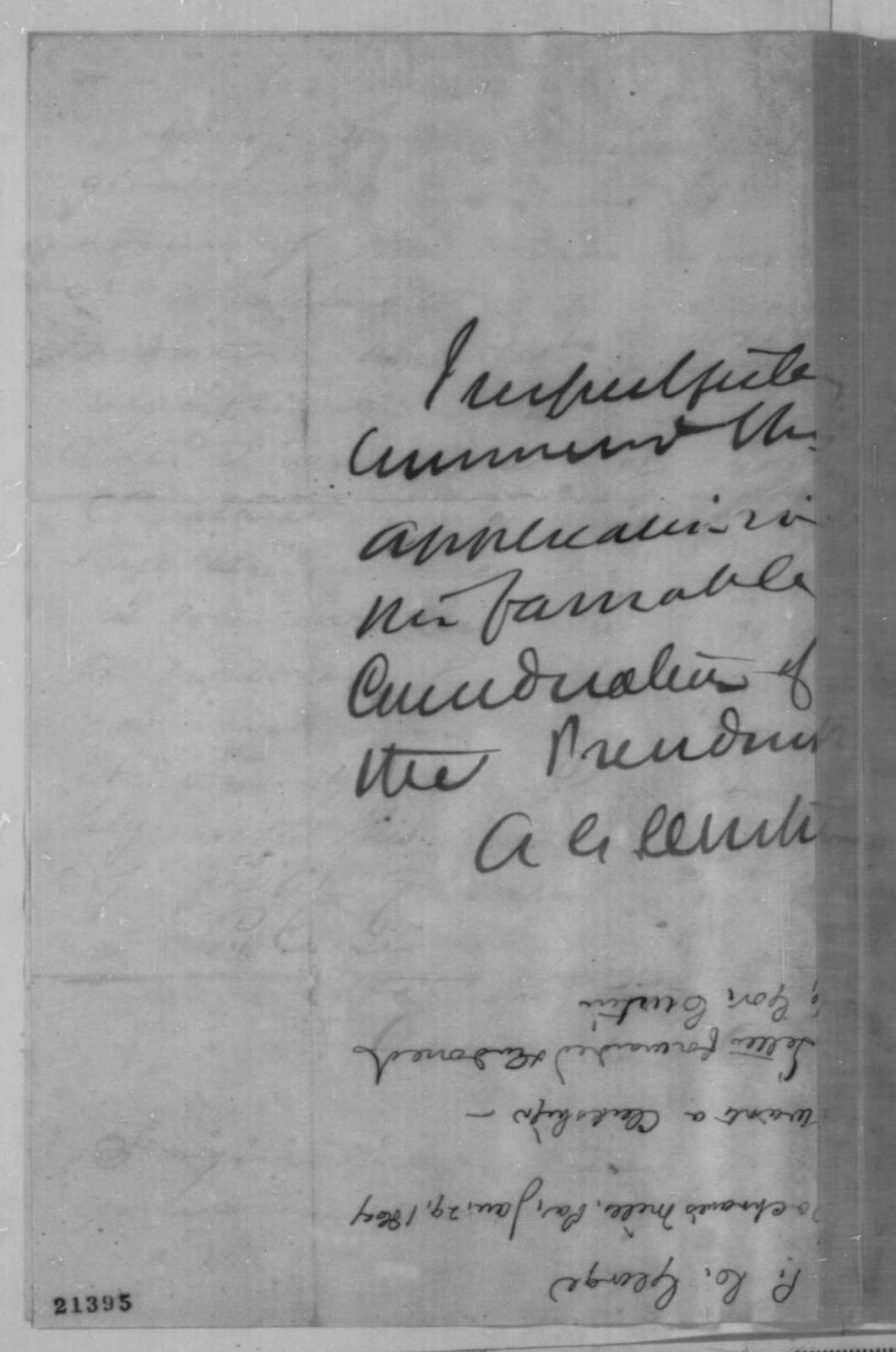 P. C. George to Abraham Lincoln, Thursday, January 29, 1863  (Seeks office; endorsed by Andrew G. Curtin)