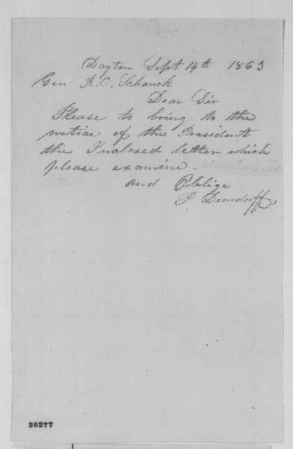 P. Deardorff to Robert Schenck, Monday, September 14, 1863  (Cover letter)