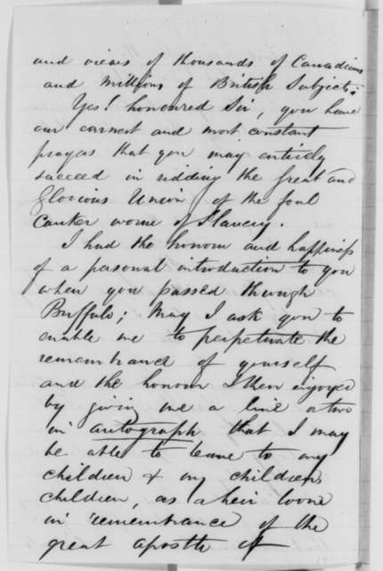 P. Tertius Kempson to Abraham Lincoln, Wednesday, February 25, 1863  (Support and autograph request from Canada; endorsed by Elbridge G. Spaulding)
