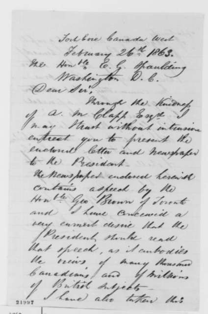 P. Tertius Kempson to Elbridge G. Spaulding, Thursday, February 26, 1863  (Asks him to present letter to Lincoln)