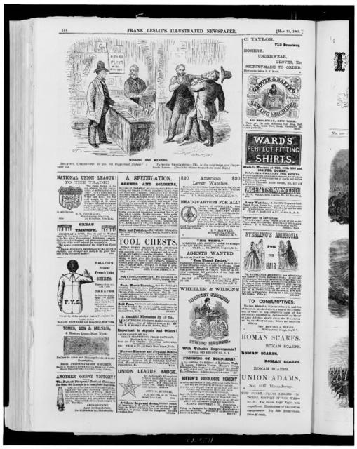 "[Page of advertisements, with cartoon ""winning and wearing"", showing man asking to buy a Copperhead badge, from shopkeeper, who hits him]"