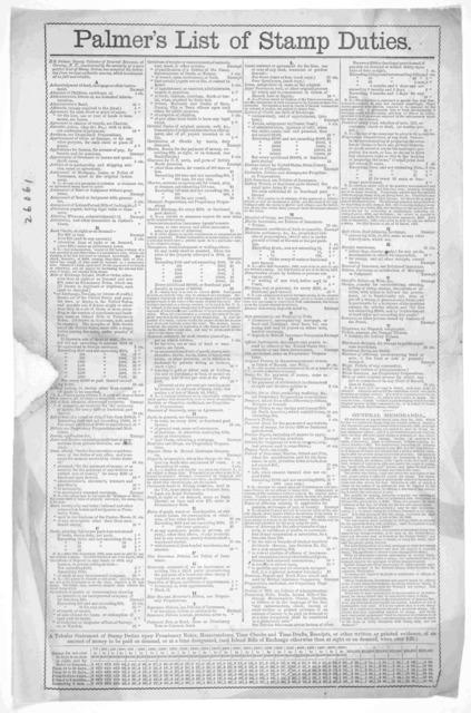 Palmer's list of stamp duties. [Corning. N. Y. 1863].