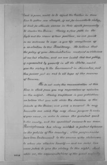 Pennsylvania Legislature to Abraham Lincoln, [1863-1864]  (Support)