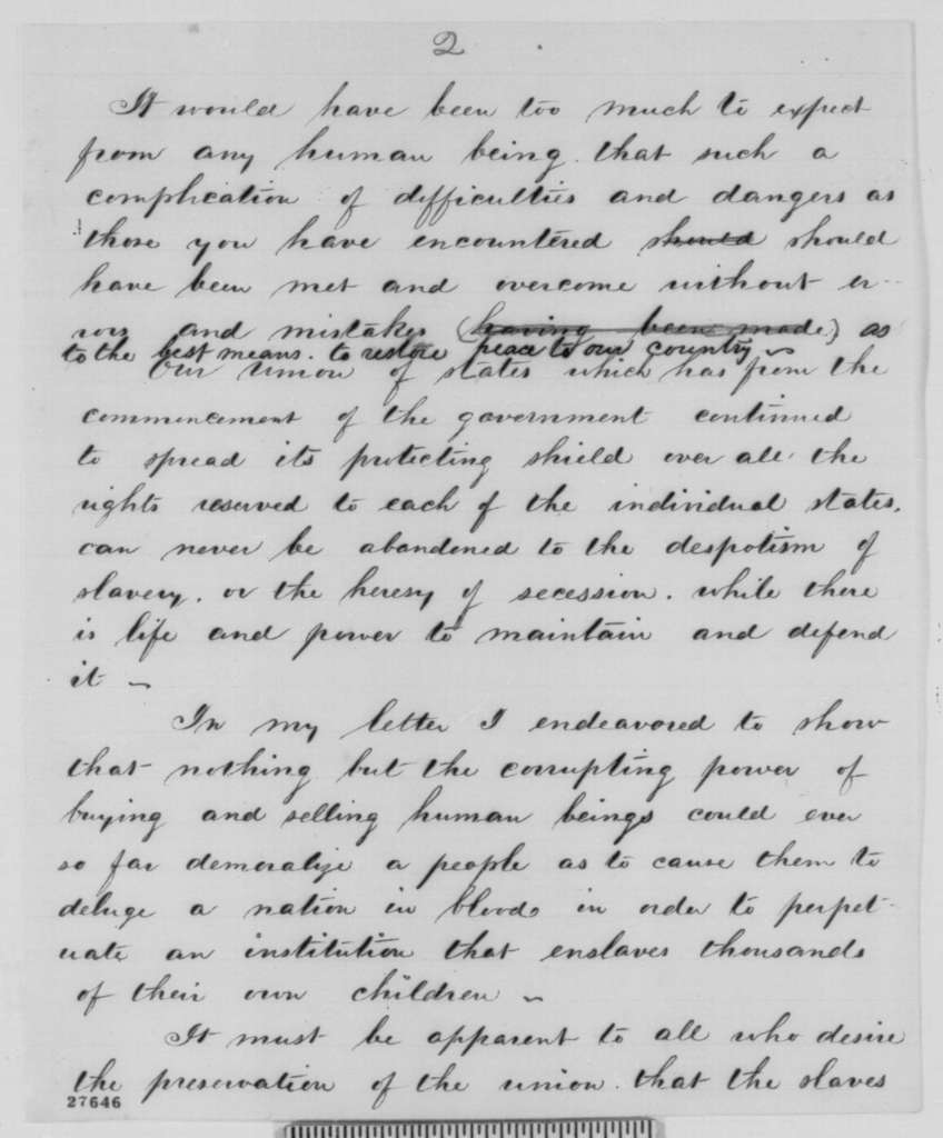 Peter Cooper to Abraham Lincoln,  1863  (Conduct of the war and abolition of slavery)