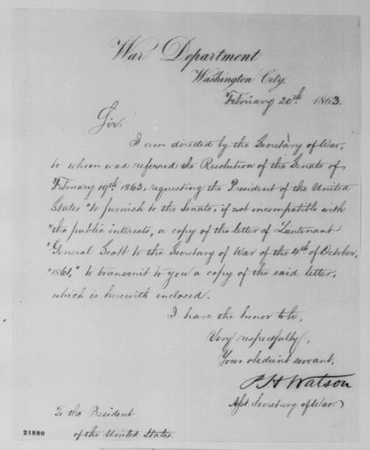 Peter H. Watson to Abraham Lincoln, Friday, February 20, 1863  (Cover letter)