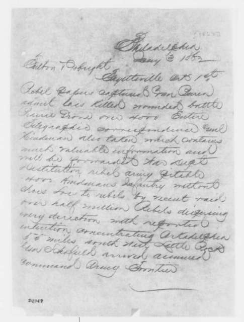 Philadelphia Military Telegram to Charles C. Fulton and Lawrence A. Gobright, Saturday, January 03, 1863  (Telegram reporting military action in Arkansas)