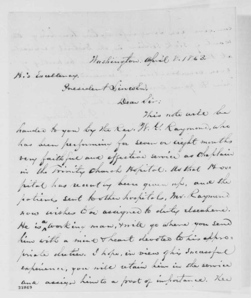 Phineas D. Gurley to Abraham Lincoln, Wednesday, April 08, 1863  (Introduces Rev. W. G. Raymond)