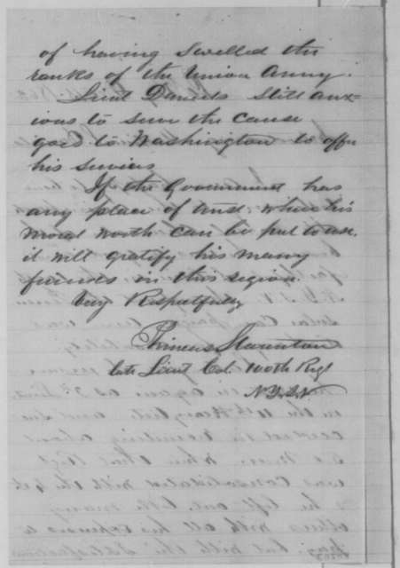 Phineas Staunton, Tuesday, December 15, 1863  (Introduces Mortimer L. Daniels)