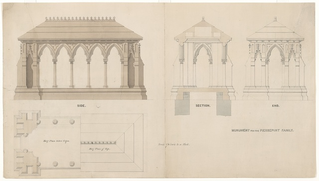 [Pierrepont family monument, Green-Wood Cemetery, New York City. Elevations, plans, and section]