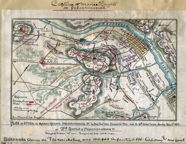 Plan of attack on Marie's Heights, Fredericksburg Va. By Maj. Genl. John Sedgwick, USA, with the 6th Army Corps. Sunday May 3rd 1863.