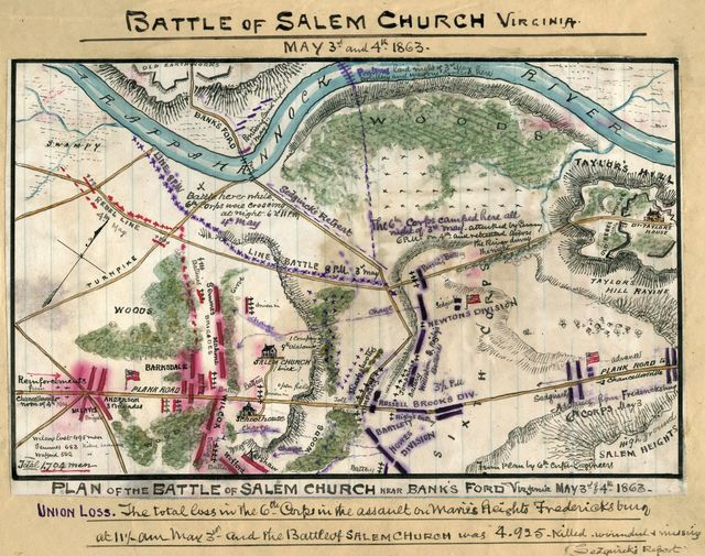 Plan of battle of Salem Church near Bank's Ford, Virginia : May 3rd & 4th 1863.