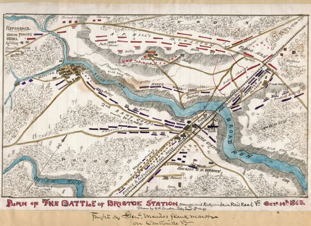 Plan of the Battle of Bristoe Station, Orange and Alexandria Railroad, Va., Octr. 14th 1863.