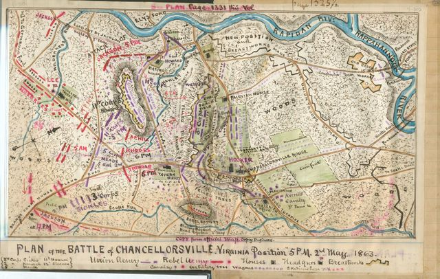 Plan of the battle of Chancellorsville. Virginia position, 5 p.m., 2nd May 1863.
