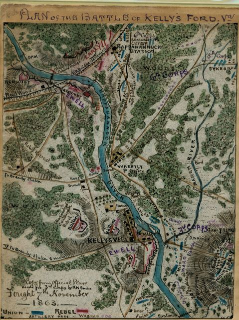 Plan of the Battle of Kelly's Ford, Va. : fought 7th November 1863.
