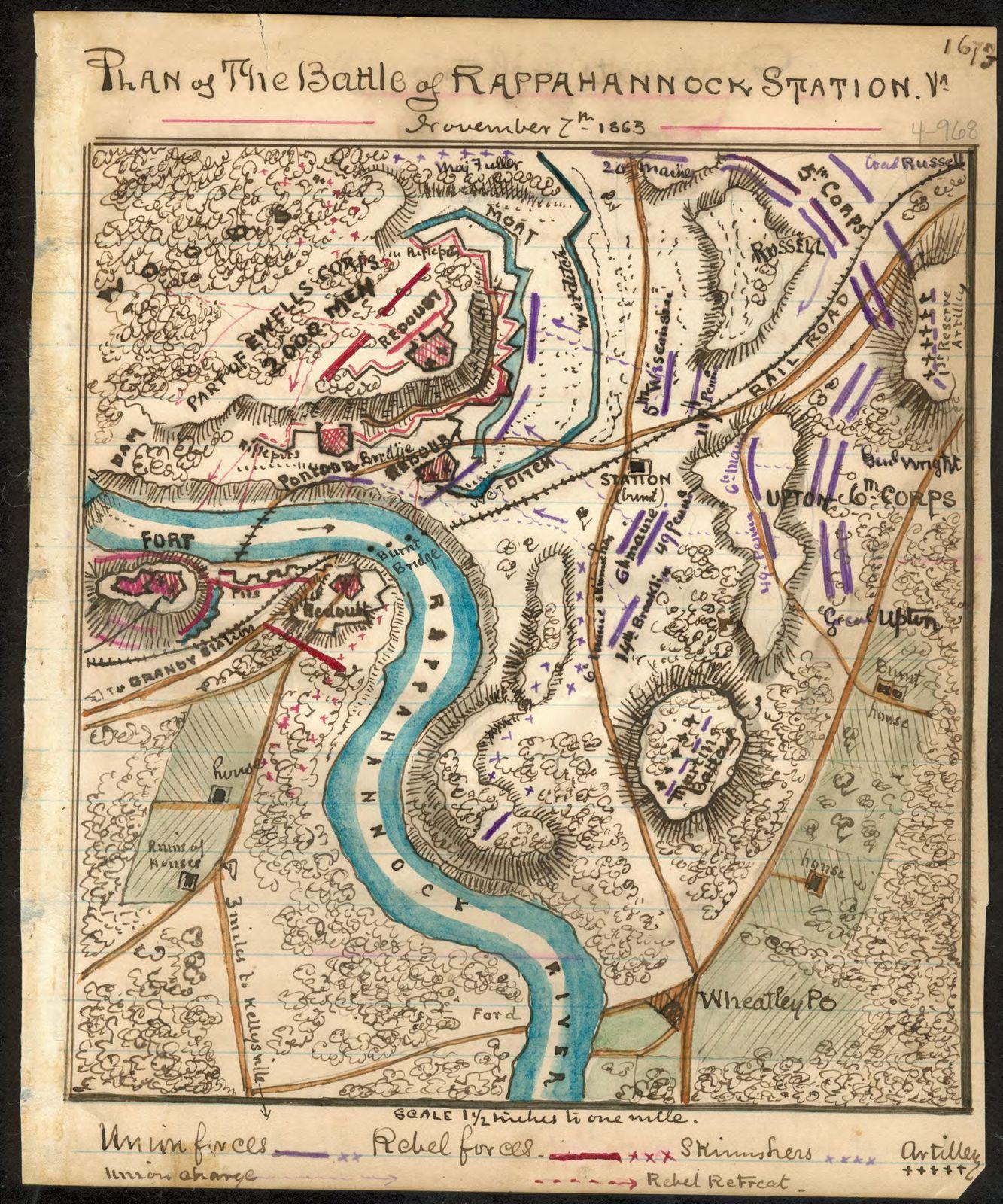Plan of the Battle of Rappahannock Station November 7th 1863.