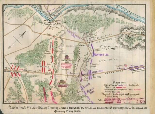 Plan of the battle of Salem Church or Salem Heights, Va. Attack and repulse of the 6th Army Corps, Maj. Genl. John Sedgwick, U.S.A., afternoon of 3rd May 1863.