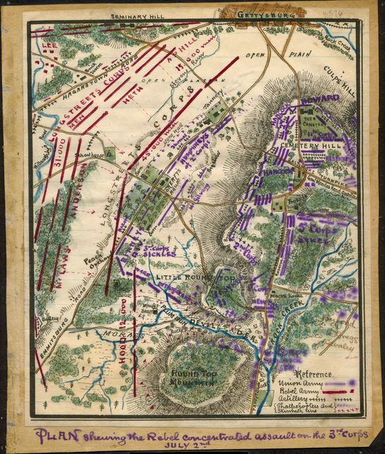 Plan shewing [sic] the Rebel concentrated assault on the 3rd Corps, July 2nd