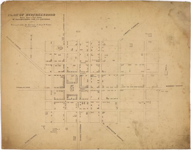 Plat of Murfreesboro. Taken from a top'l. sketch of Murfreesboro and its environs. Surveyed under the direction of Capt. N. Michler, Top'l. Engs., U.S.A.