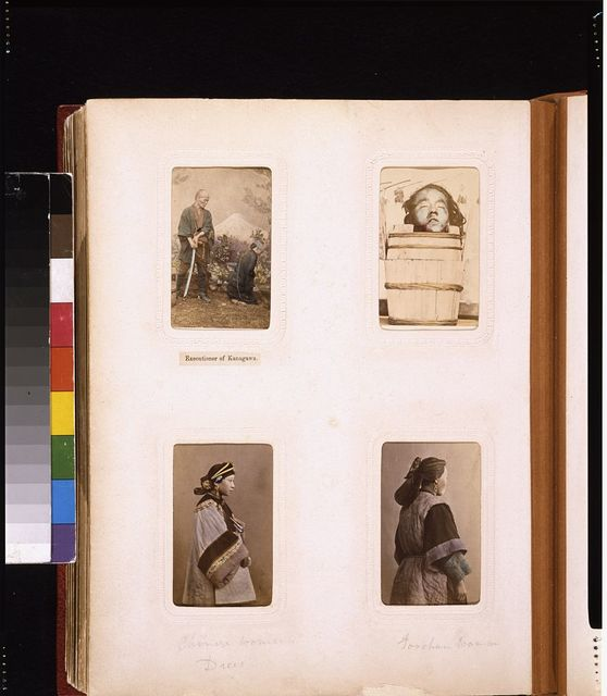 """[Portraits of the executioner of Kanagawa with sword and prisoner, the head of Hayashida Tciken, and Chinese women, including one from """"Foochau""""]"""