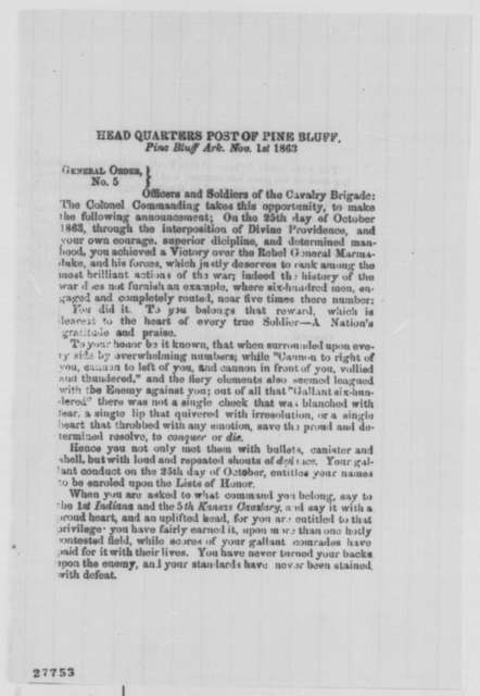 Powell Clayton, Sunday, November 01, 1863  (Printed general order)