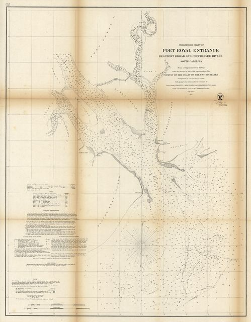Preliminary chart of Port Royal entrance, Beaufort, Broad and Chechessee Rivers, South Carolina /