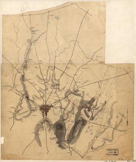 [Preliminary sketch of the battle of Gettysburg showing troop positions, July 2, 1863].