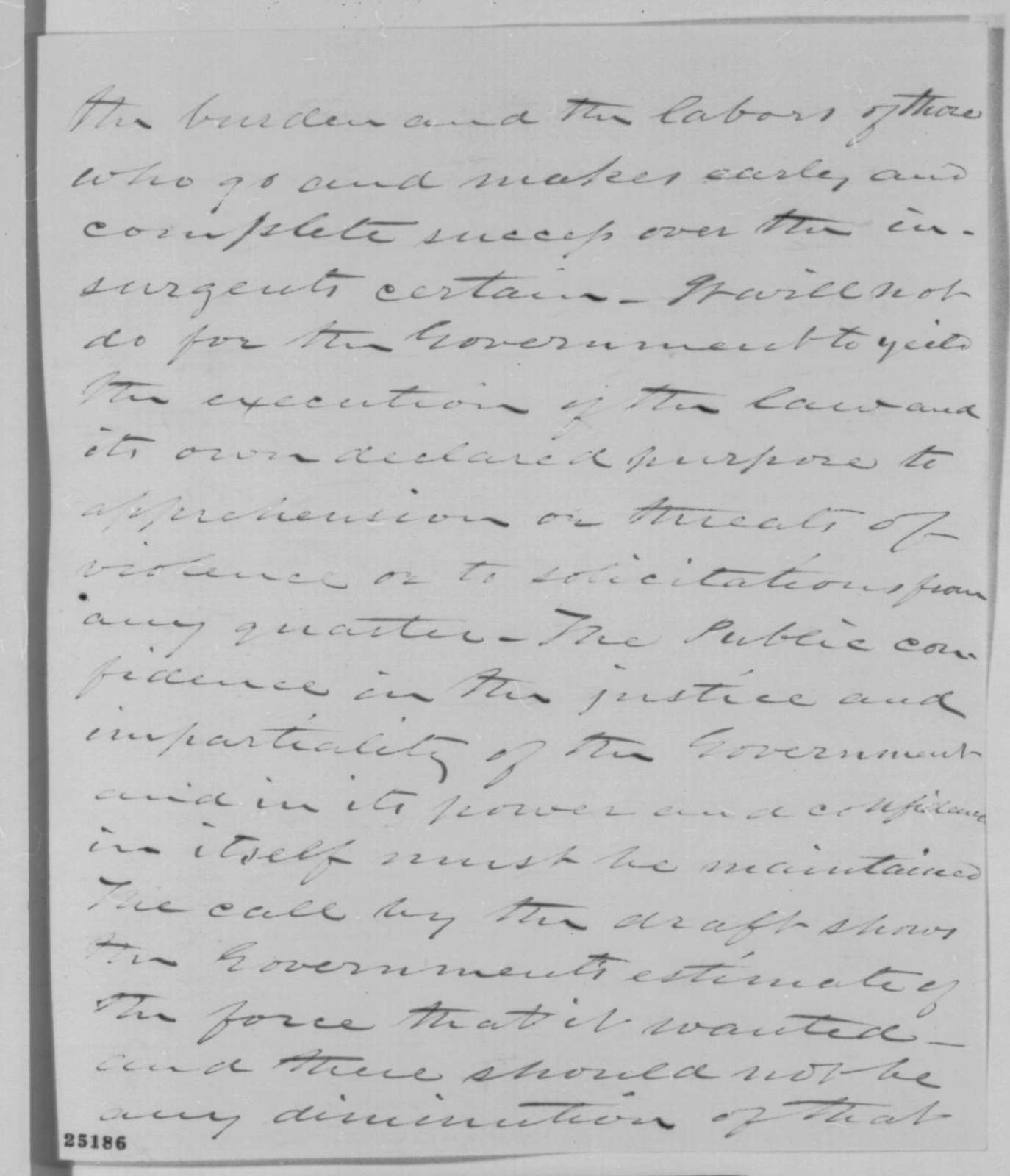 Preston King to Abraham Lincoln, Wednesday, July 29, 1863  (Support for the draft)