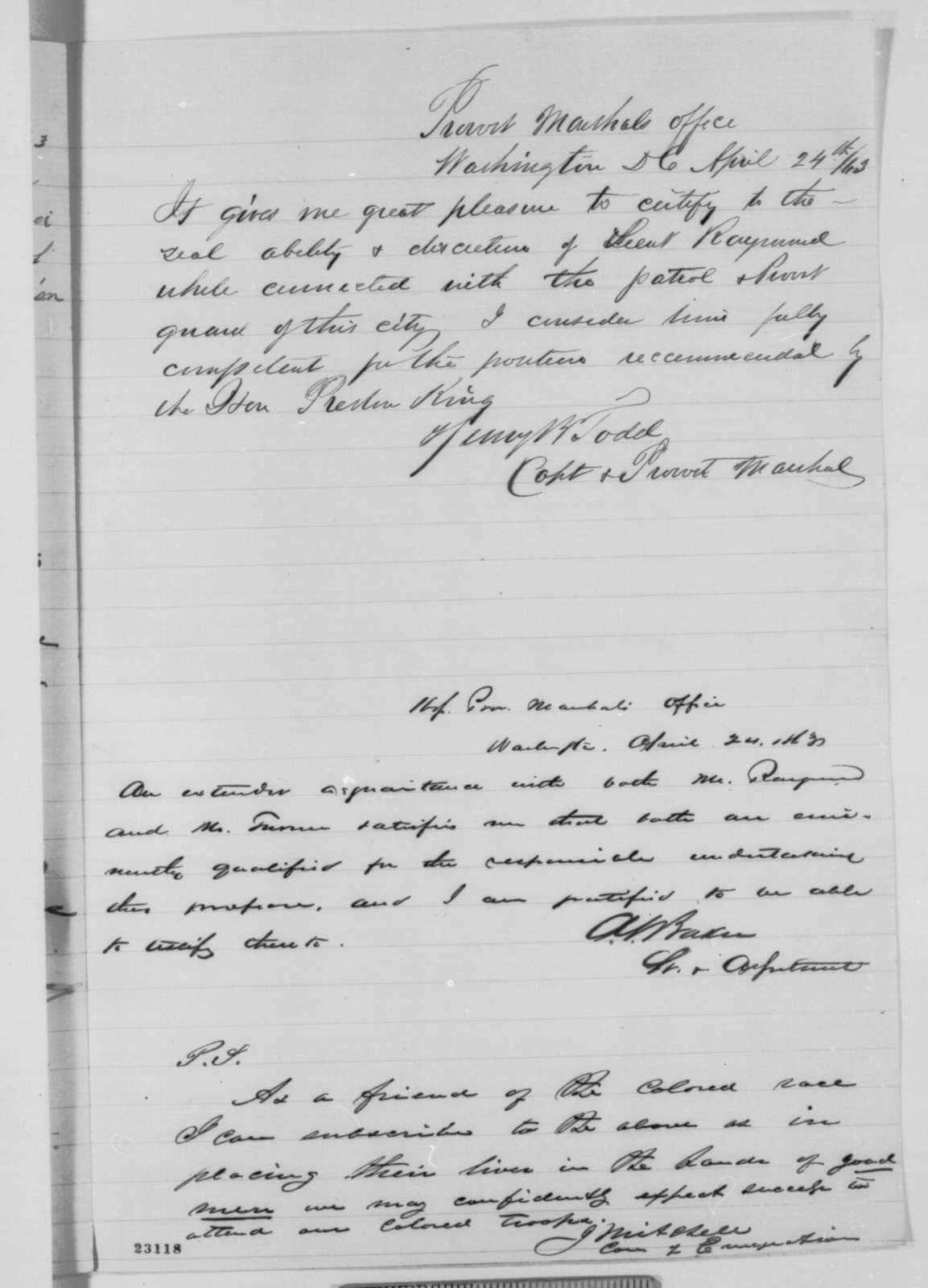 Preston King to Edwin M. Stanton, Thursday, April 23, 1863  (Recommends W.G. Raymond as officer of a black regiment; with several endorsements)