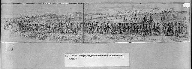 [Procession for the execution of five deserters from the 118th Pennsylvania Volunteers, 1st Division, 5th Corps, Beverly Ford, Va.]