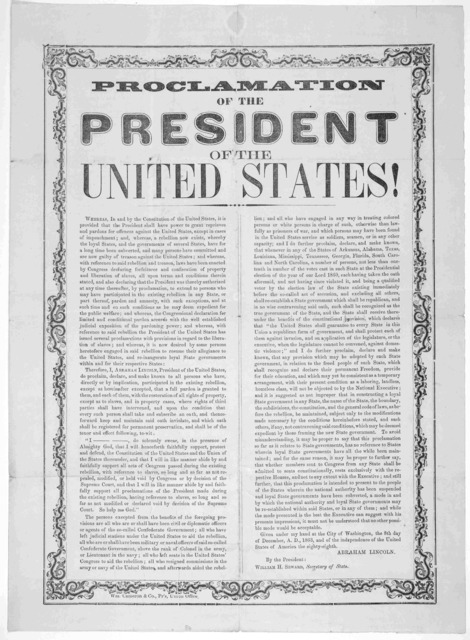 Proclamation of the President of the United States [Regarding granting of pardons] Given under my hand at the City of Washington, the 8th day of December, A. D., 1863 ... Abraham Lincoln. Wm. Cameron & Co., Pr's Union office. [1863].
