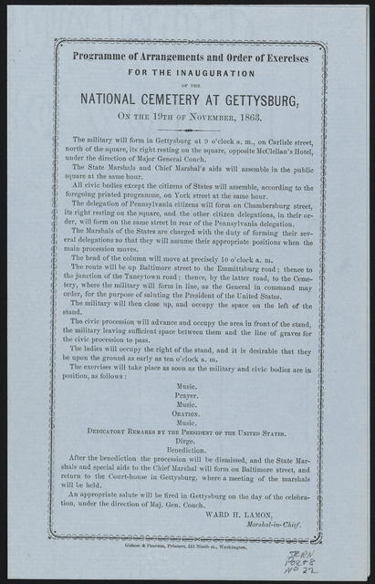Programme [sic] of arrangements and order of exercises for the inauguration of the National Cemetery at Gettysburg, on the 19th of November 1863.