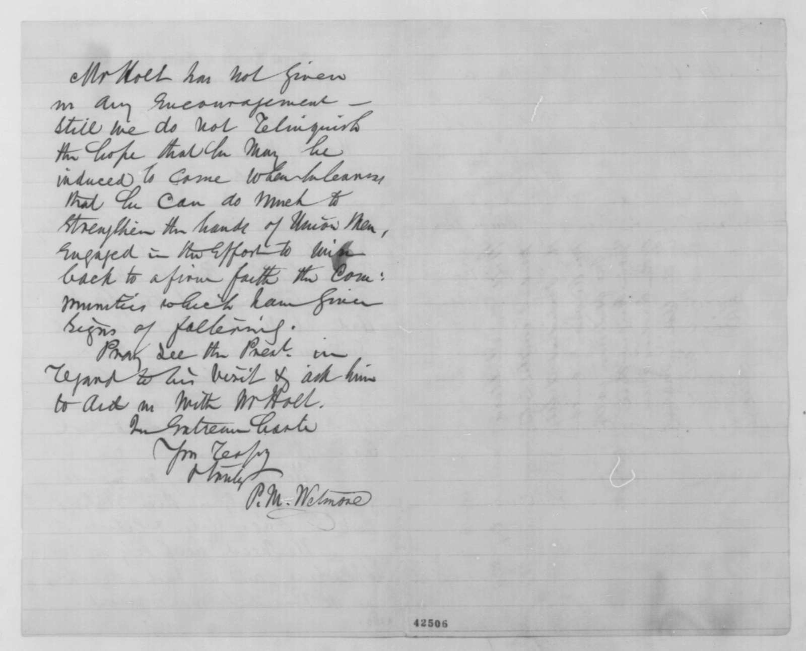 Prosper M. Wetmore to James M. Edmunds, Friday, March 20, 1863  (Is Lincoln planning a trip to New York?; endorsed by Edmunds)