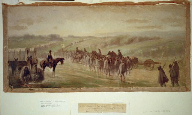Pursuit of Lee's army. Scene on the road near Emmitsburg - marching through the rain / Edwin Forbes.