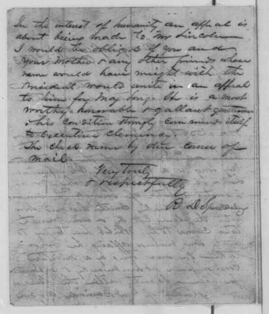 R. D. Spalding to Katherine Todd, Friday, October 02, 1863  (Case of Lee M. Long; endorsed by Todd, Oct. 15, 1863)