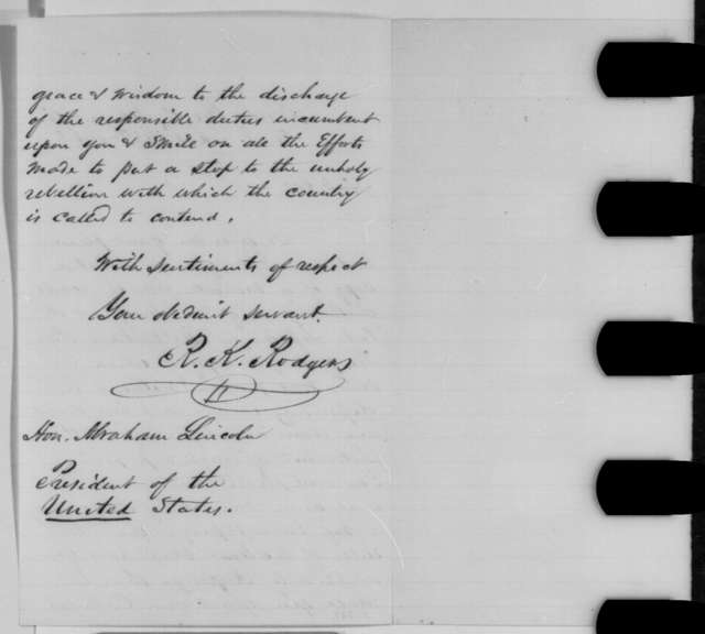R. K. Rodgers to Abraham Lincoln, Wednesday, October 28, 1863  (Sends minutes from New Jersey synod)