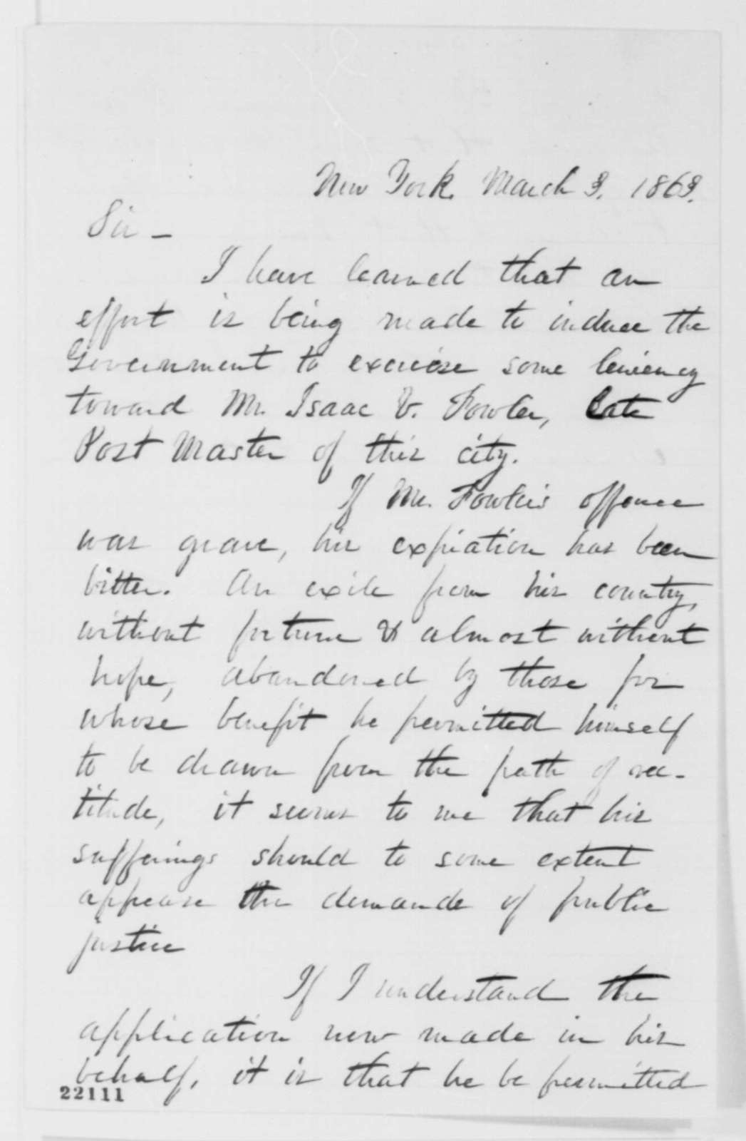 R. W. Potter to Abraham Lincoln, Tuesday, March 03, 1863  (Writes on behalf of Isaac Fowler)