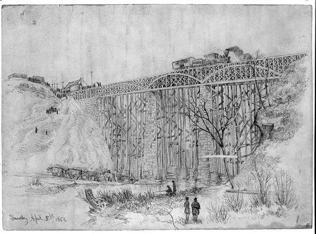 Railroad train containing President Lincoln crossing Potomac Creek bridge on his way to review the Army of the Potomac