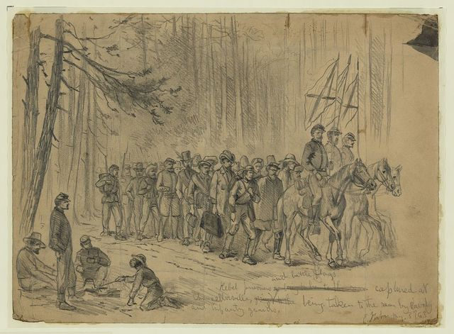 Rebel prisoners and battle flags captured at Chancellorsville, being taken to the rear by cavalry and infantry guards / E. Forbes.