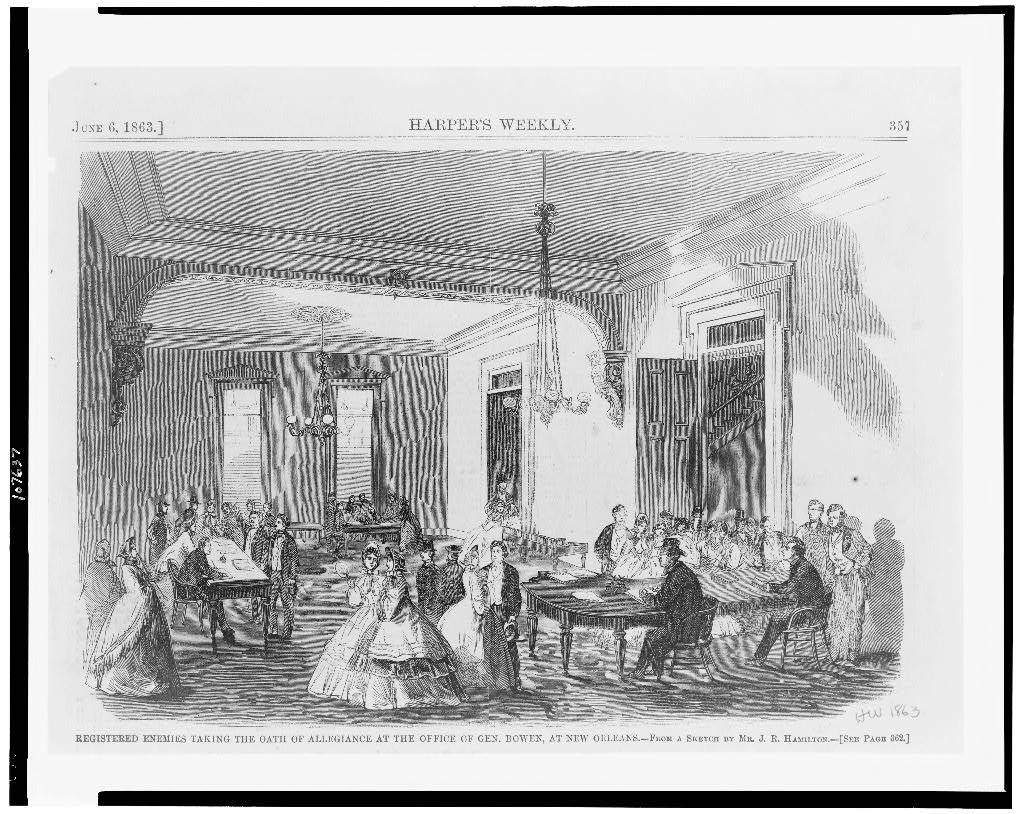 Registered enemies taking the oath of allegiance at the office of Gen. Bowen, at New Orleans / From a sketch by Mr. J.R. Hamilton.
