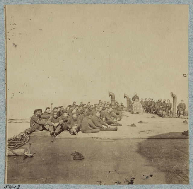 Religious service aboard the monitor Passaic, Port Royal, S.C., 1863