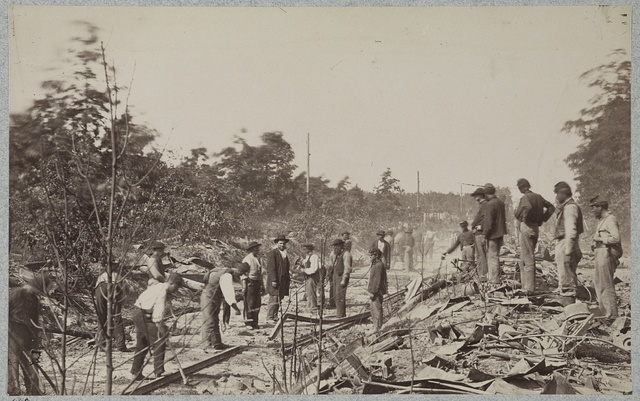 Repairing Orange and Alexandria Railroad near Catlett's Station, after its destruction by the Confederates, October 1863