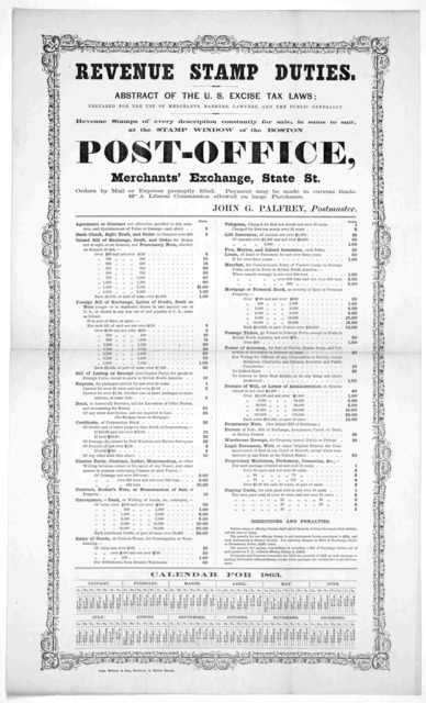 Revenue stamp duties. Abstract of the U. S. excise tax laws; prepared for the use of merchants, bankers, lawyers and the public generally. Revenue stamps of every description constantly for sale, in sums to suit at the stamp window of the Boston