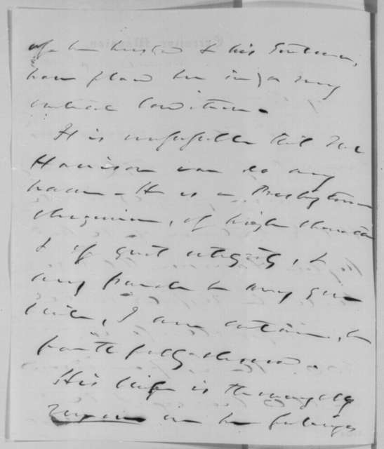 Reverdy Johnson to Abraham Lincoln, Thursday, August 13, 1863  (Writes on behalf of Peyton Harrison)