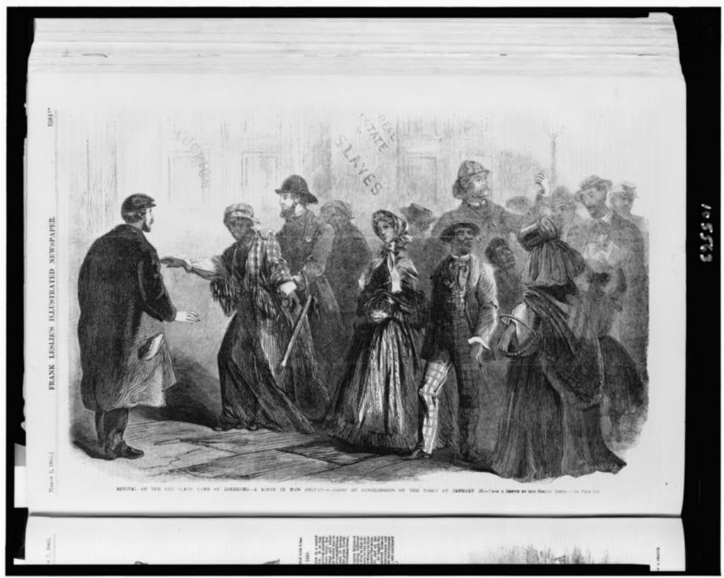 Revival of the old slave laws of Louisiana--a scene in New Orleans--arrest of contrabands on the night of January 30 / From a sketch by our special artist.