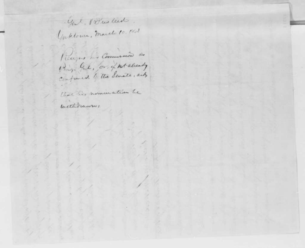 Richard Busteed to Abraham Lincoln, Tuesday, March 10, 1863  (Resigns his commission as brigadier general)